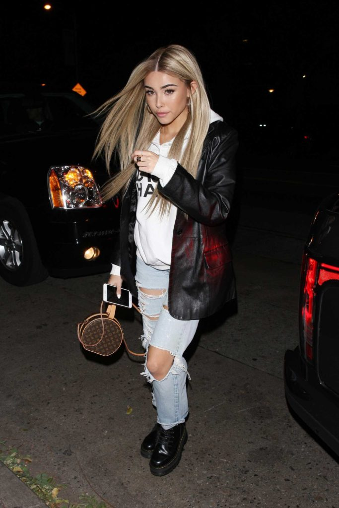 Madison Beer in a Black Leather Blazer