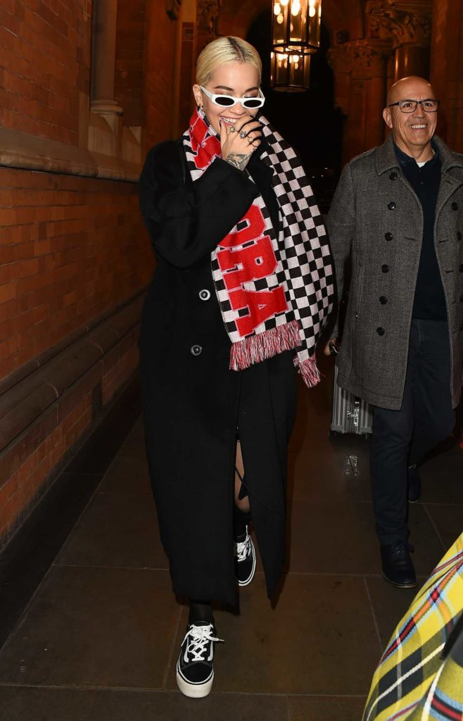 Rita Ora in a Black Coat