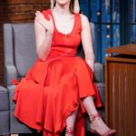 Saoirse Ronan in a Red Dress Attends Late Night with Seth Meyers