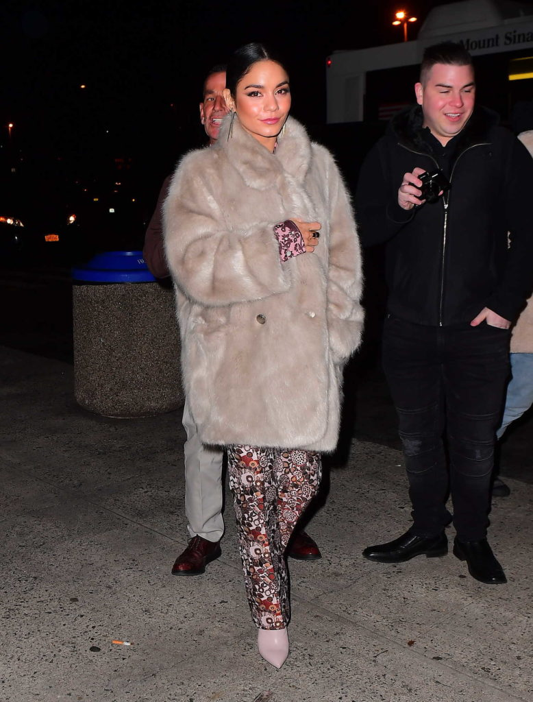 Vanessa Hudgens in a Beige Fur Coat