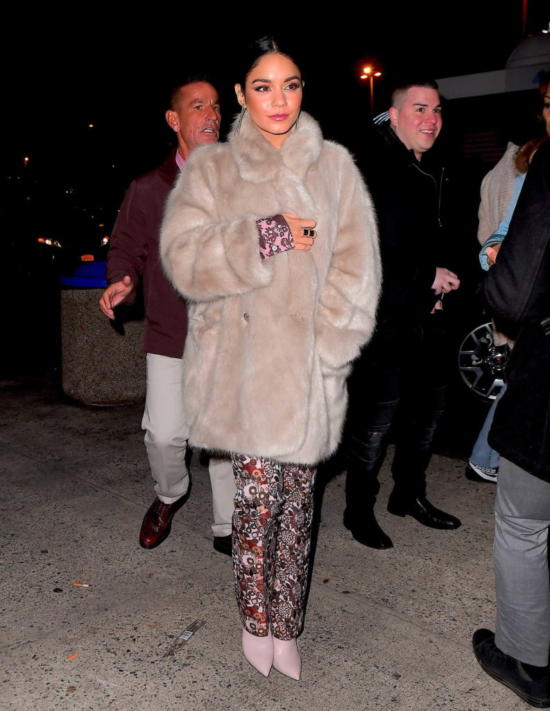 Vanessa Hudgens in a Beige Fur Coat