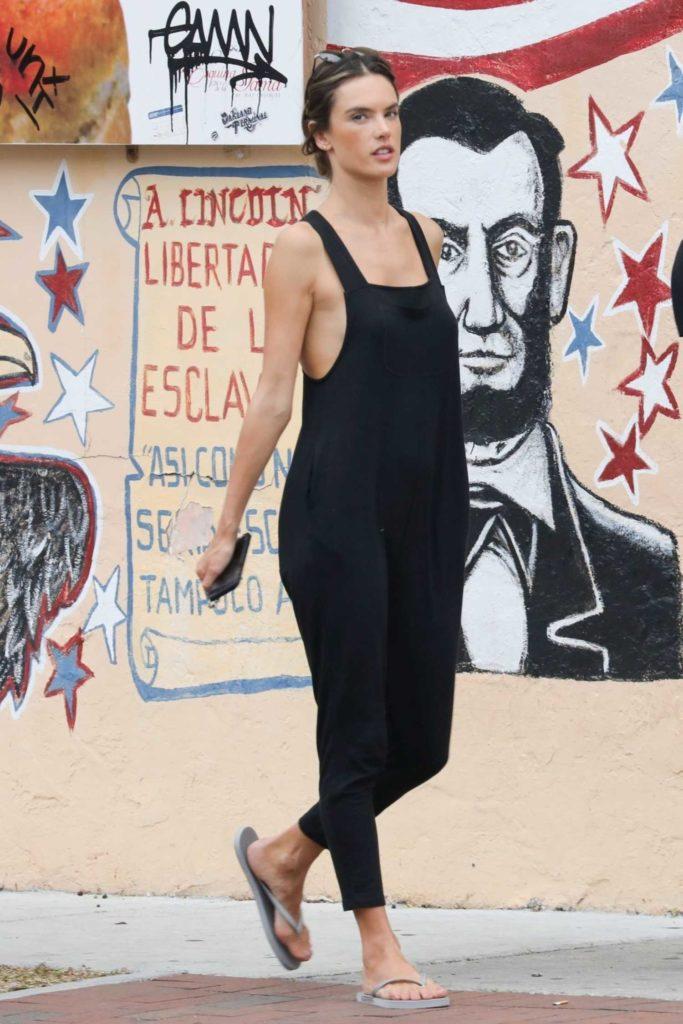 Alessandra Ambrosio in a Black Overalls