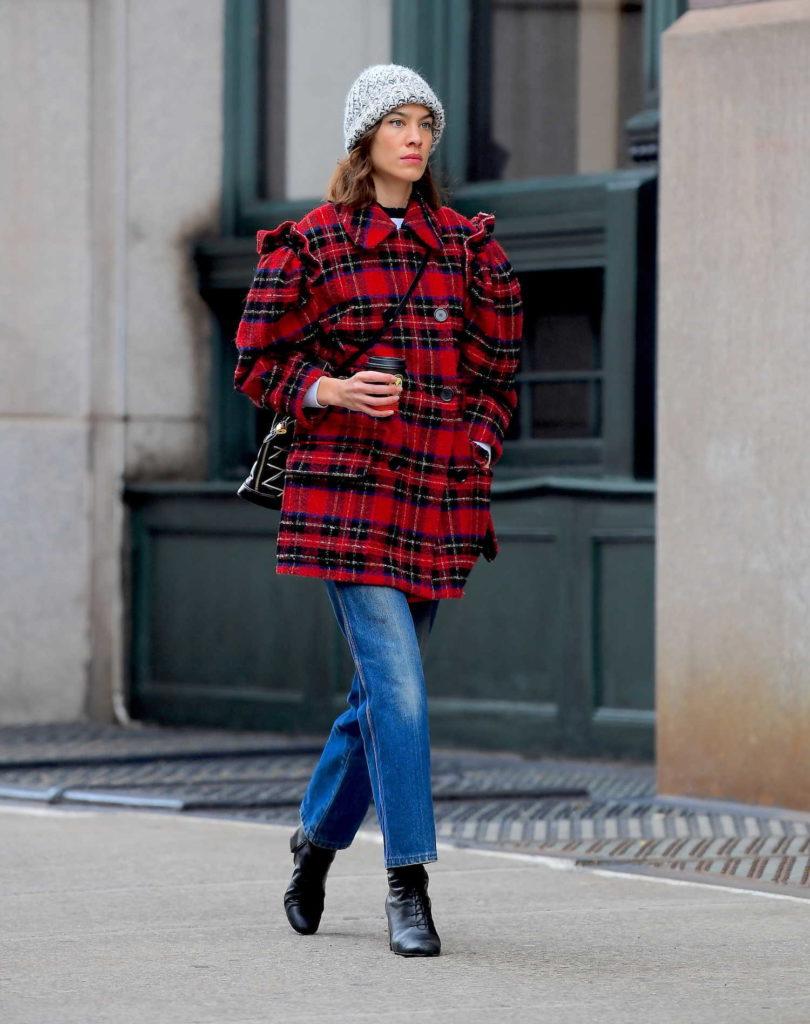 Alexa Chung in a Plaid Coat
