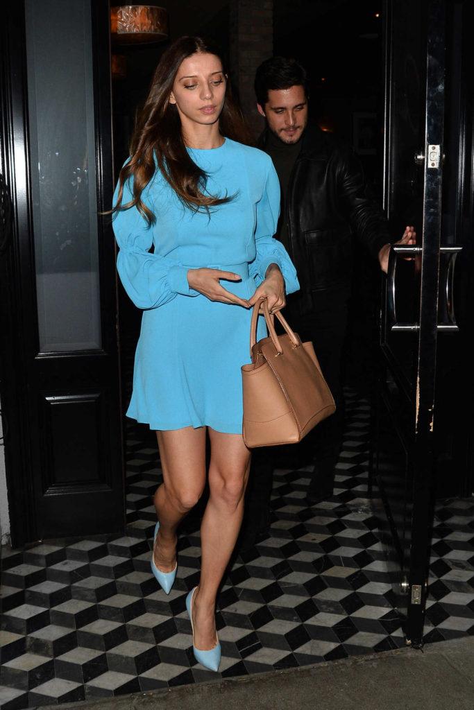 Angela Sarafyan in a Blue Dress