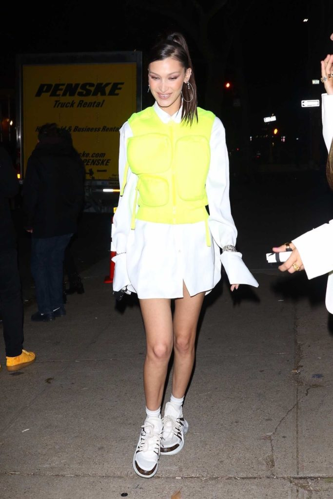Bella Hadid in a Neon Green Vest