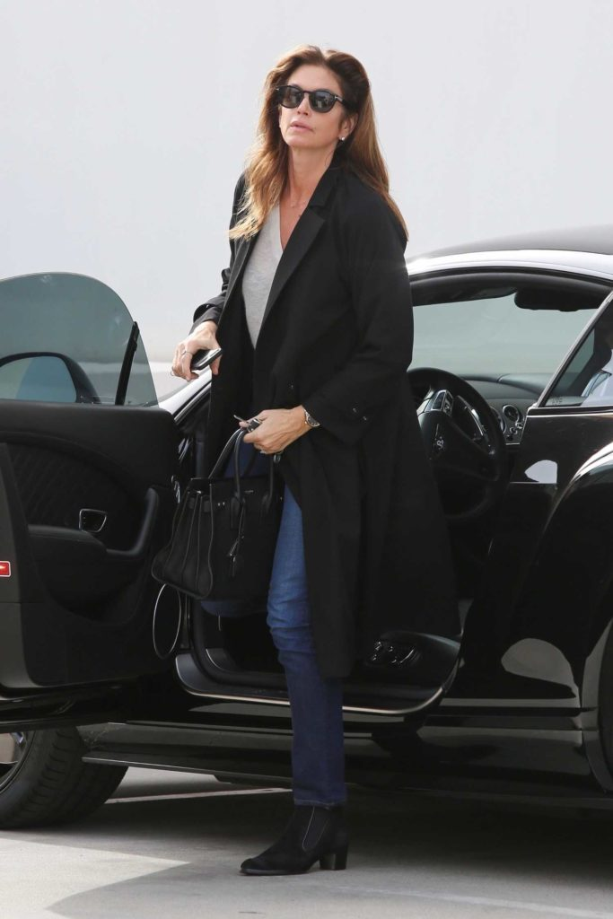Cindy Crawford in a Black Coat