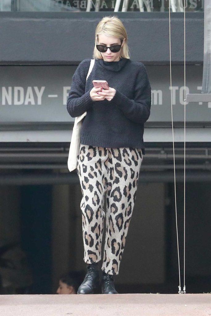 Emma Roberts in a Leopard Print Sweatpants
