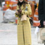 Jenna Coleman in a Plaid Yellow Coat Goes Shopping at Wholefoods and Detox MarketMarket in NYC