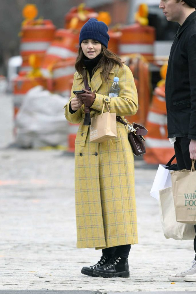 Jenna Coleman in a Plaid Yellow Coat