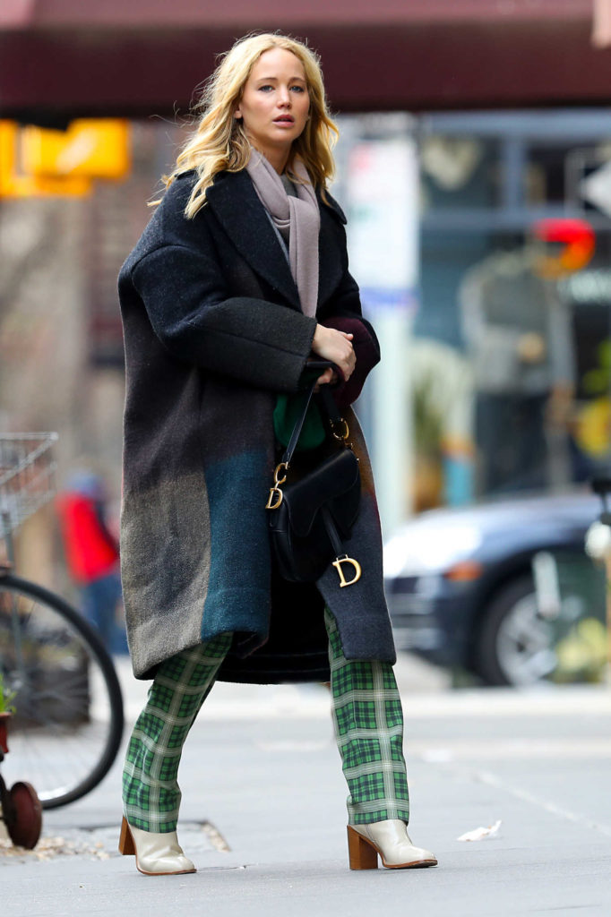 Jennifer Lawrence in a Green Plaid Pants