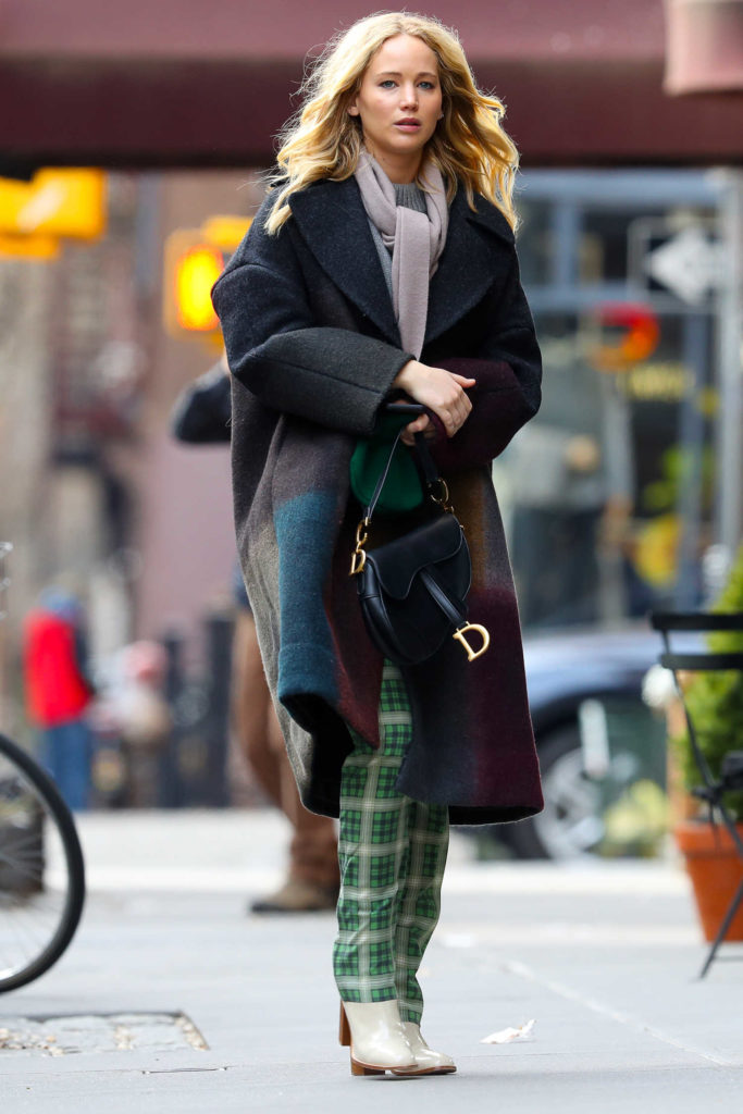Jennifer Lawrence in a Green Plaid Pants