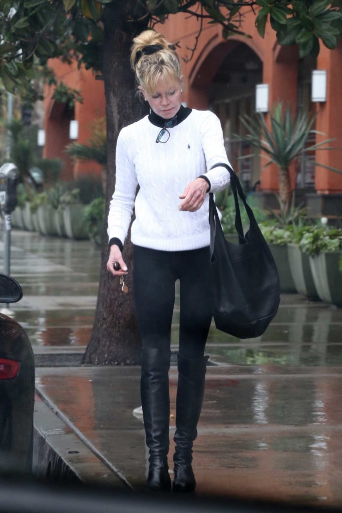 Melanie Griffith In A White Sweater Was Seen Out In Los
