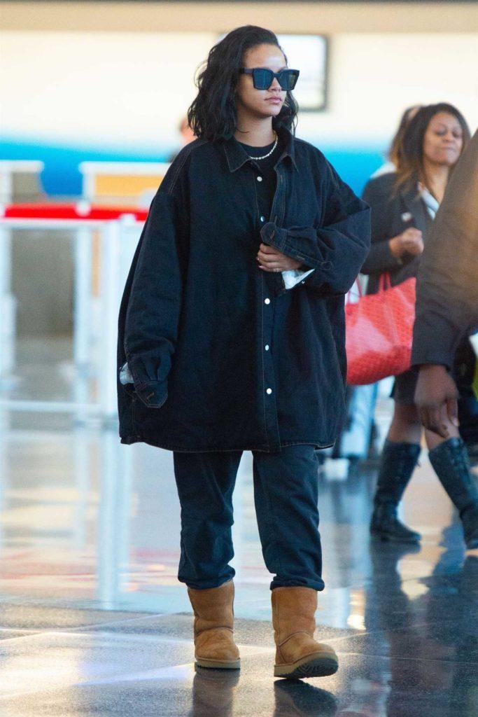 Rihanna in Denim Oversized Shirt