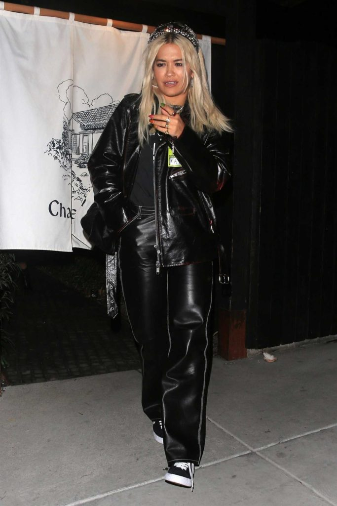 Rita Ora in a Black Leather Jacket