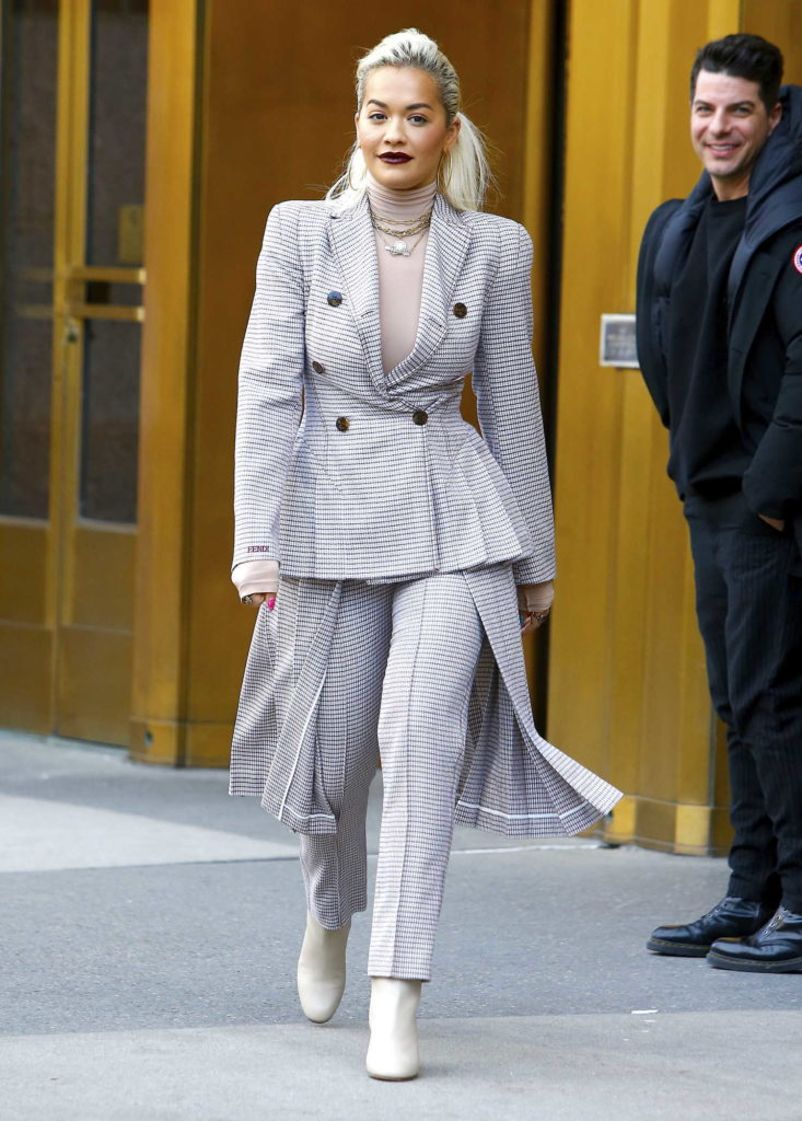 Rita Ora in a Checked Suit