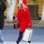 Sabrina Carpenter in a Red Oversized Hoody Out Shopping in Los Angeles