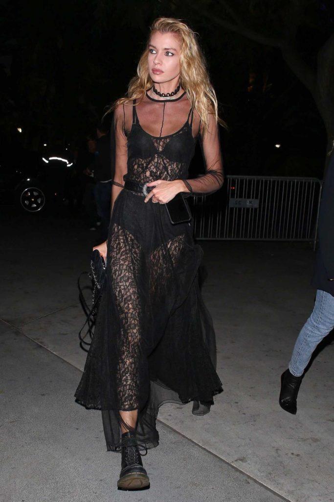 Stella Maxwell in a Black See-Through Dress