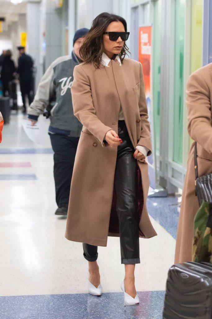 Victoria Beckham in a Beige Coat