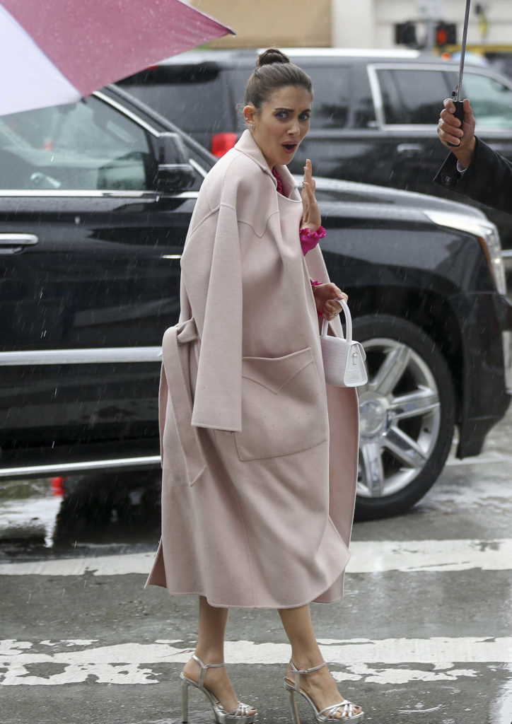 Alison Brie in a Beige Coat