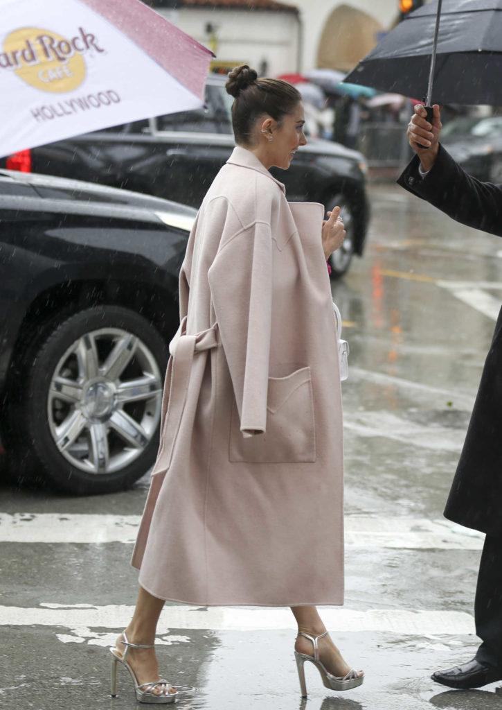 Alison Brie in a Beige Coat