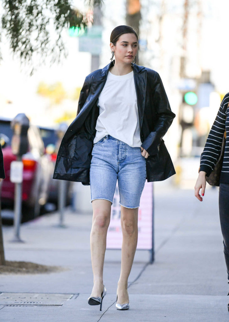 Amanda Steele in a Blue Denim Shorts
