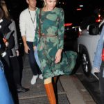 Candice Swanepoel in a Green Floral Dress Leaves the Prabal Gurung Fashion Show During NYFW in New York City