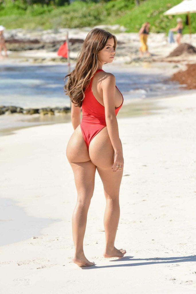 Demi Rose in a Red Swimsuit