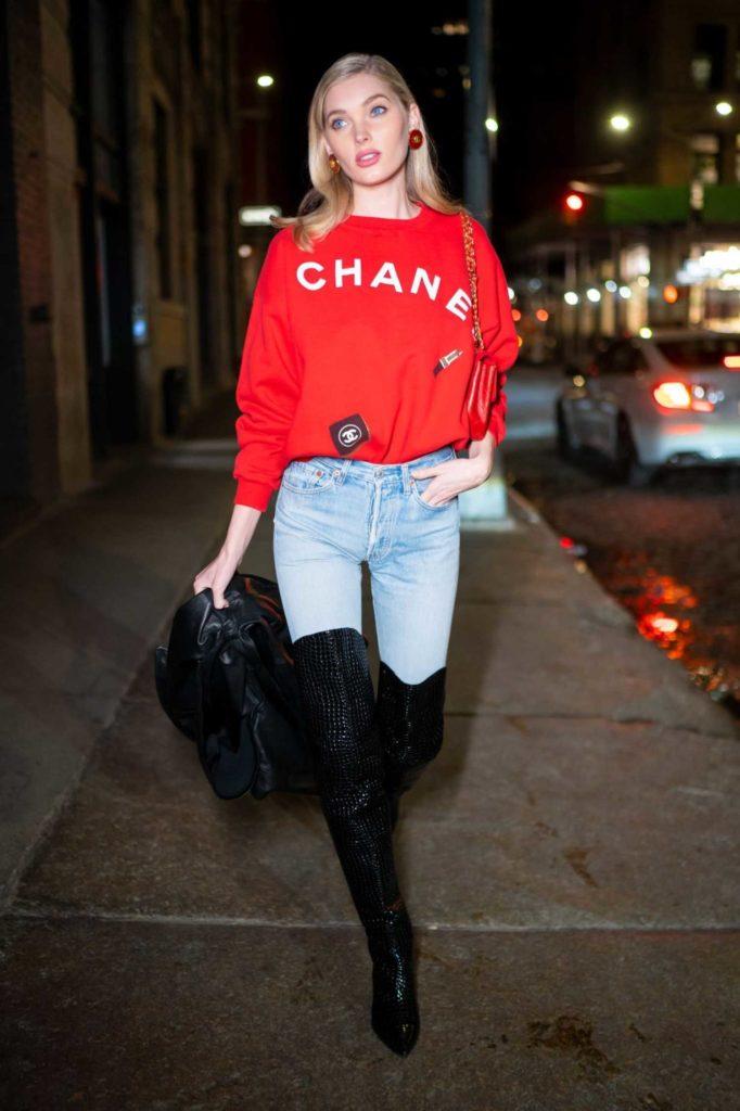 Elsa Hosk in a Red Chanel Sweatshirt