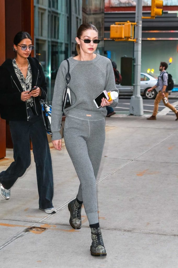 Gigi Hadid in a Gray Jogging Suit