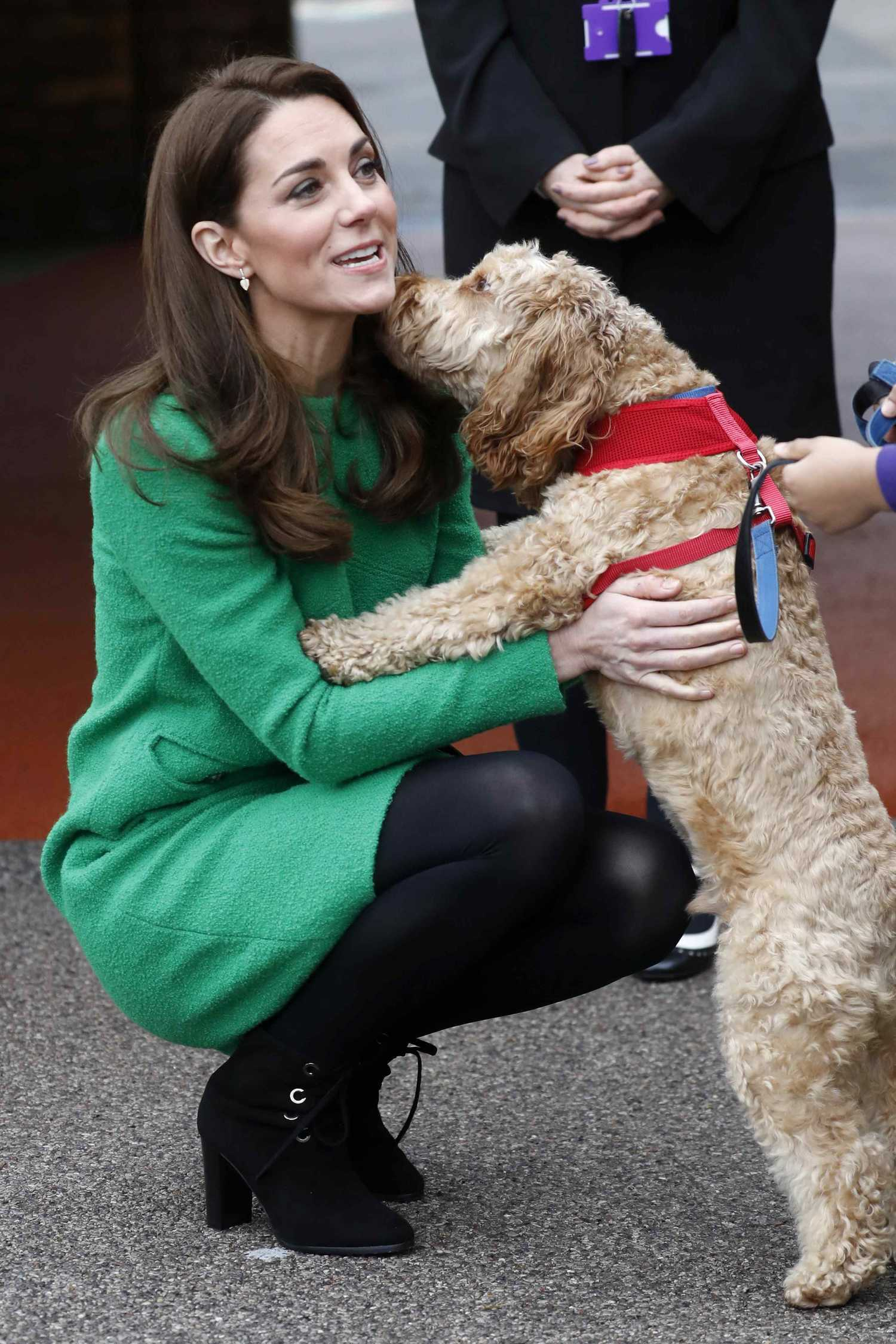 Kate Middleton In A Green Dress Visits Lavender Primary