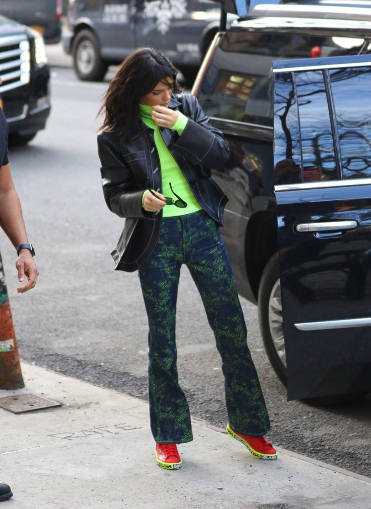 Kendall Jenner in a Neon Green Turtleneck