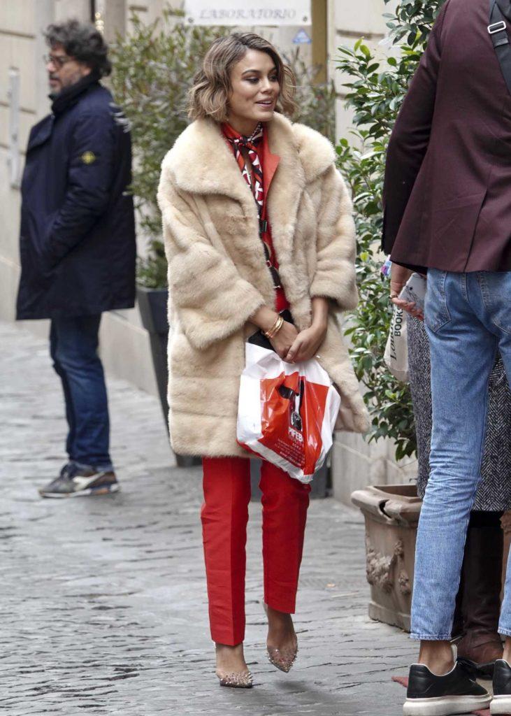 Nathalie Kelley in a Beige Fur Coat