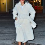 Rihanna in a White Fur Coat Out for Dinner in New York City