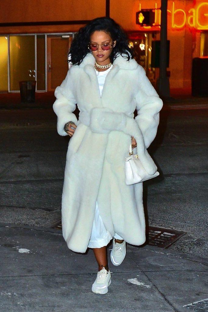 Rihanna in a White Fur Coat