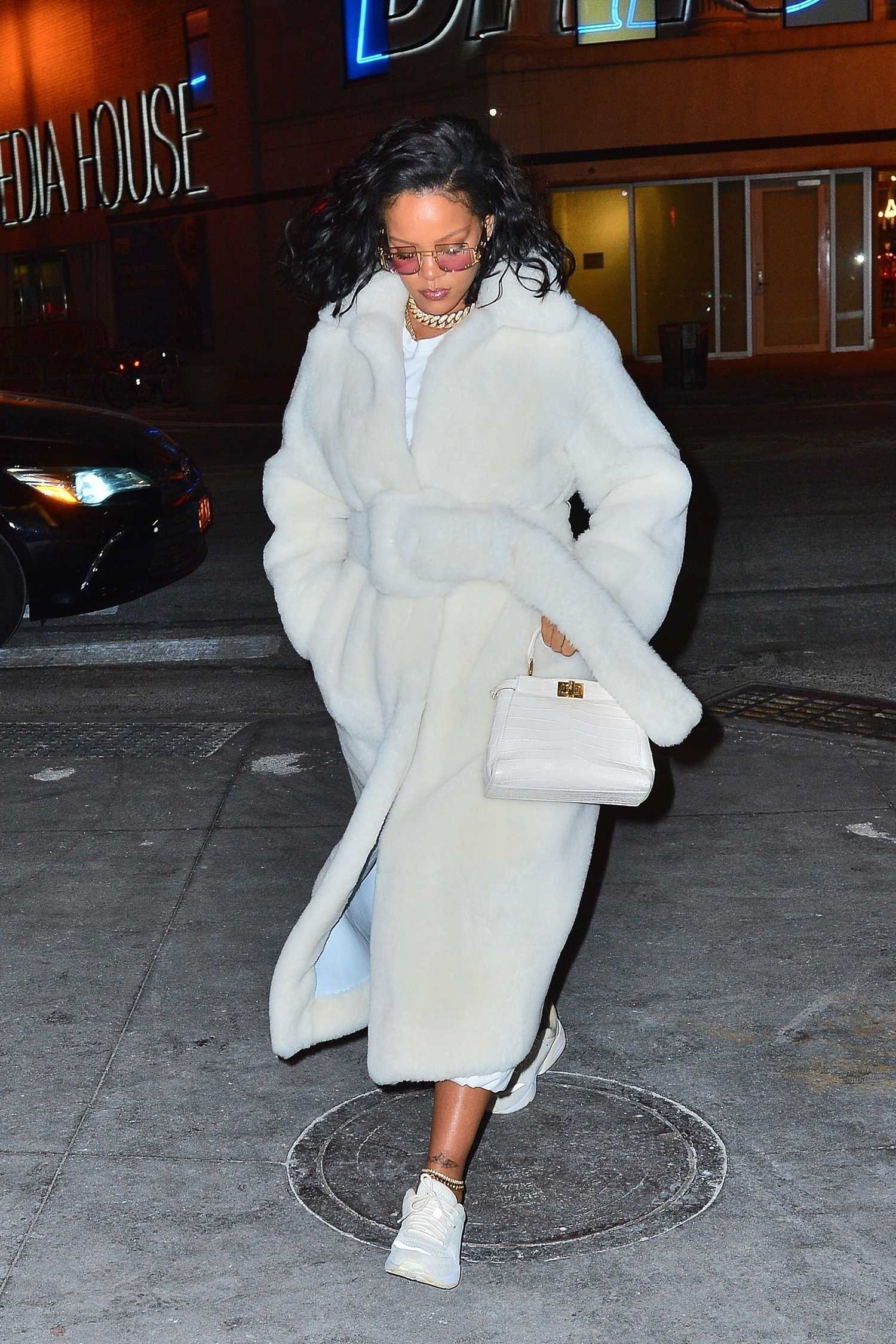 Rihanna In A White Fur Coat Out For Dinner In New York
