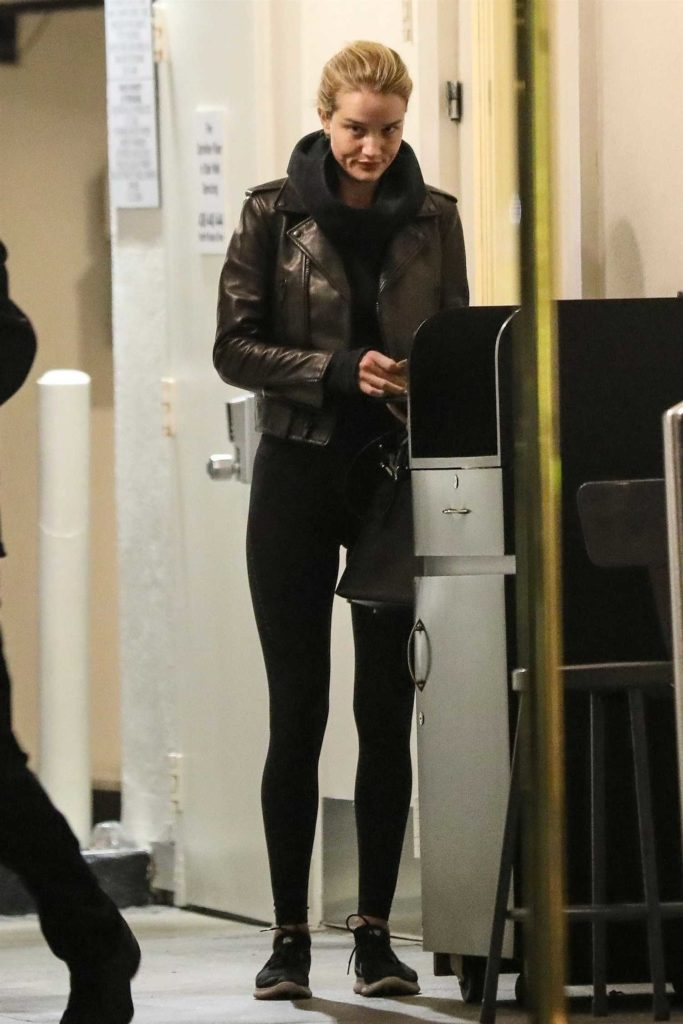 Rosie Huntington-Whiteley in a Black Leather Jacket