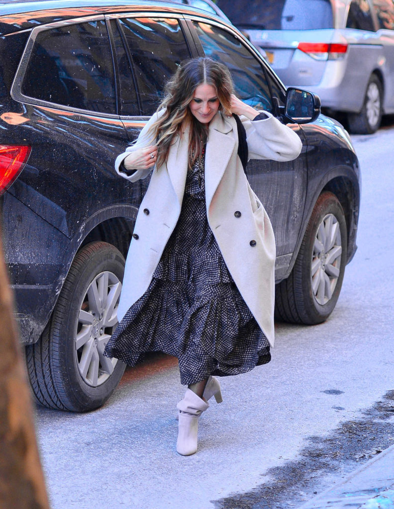 Sarah Jessica Parker in a Gray Coat