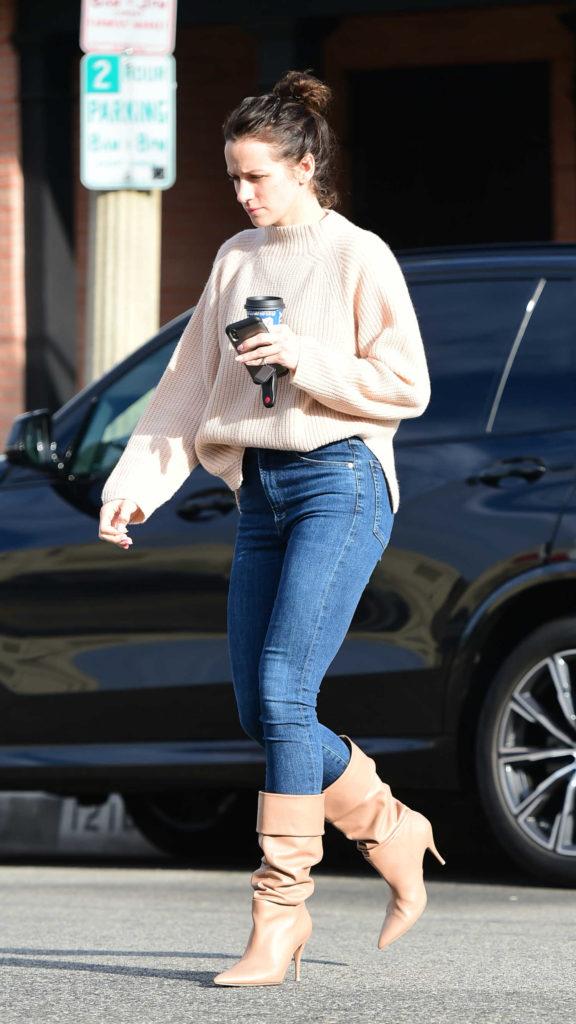 Shantel VanSanten in a Beige Sweater