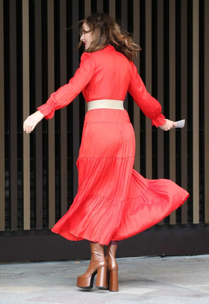 Trinny Woodall in a Red Dress