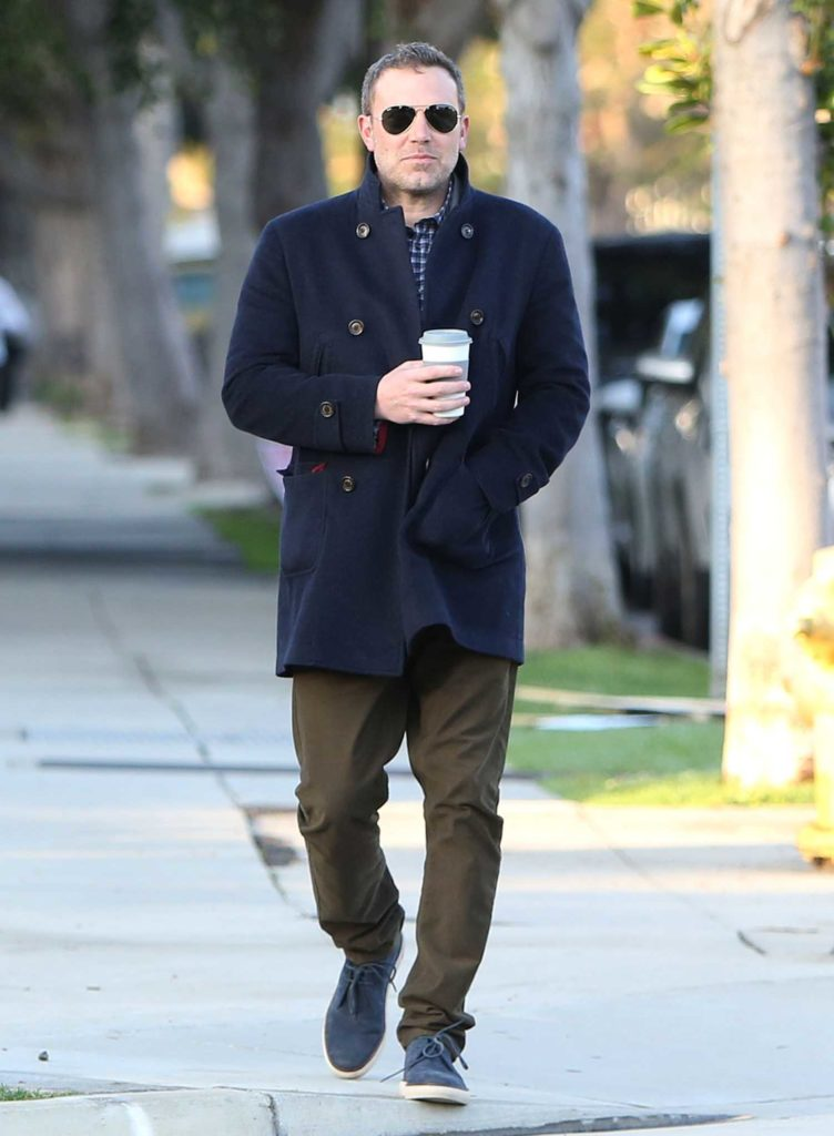 Ben Affleck in a Dark Blue Coat