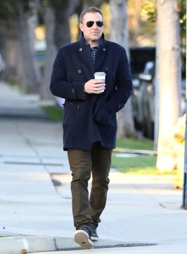Ben Affleck in a Dark Blue Coat