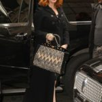 Christina Hendricks in a Black Coat Arrives at the NBC Studios in NYC