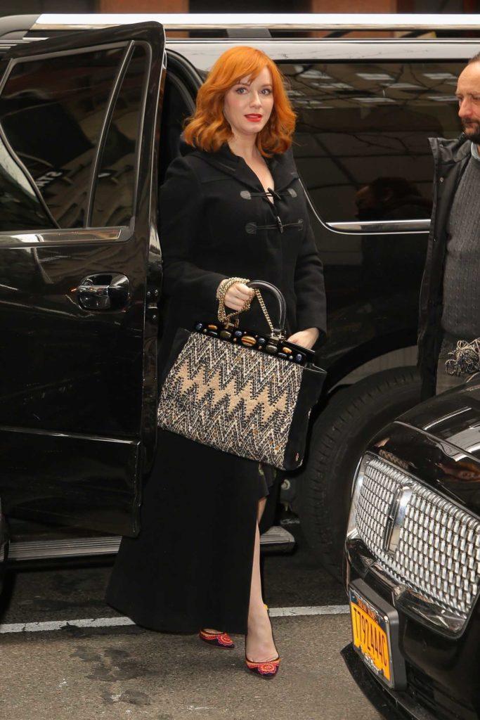 Christina Hendricks in a Black Coat
