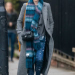 Claire Foy in a Gray Coat Was Seen Out in London