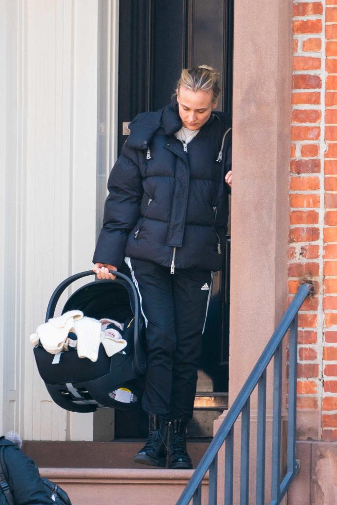 Diane Kruger in a Black Puffer Jacket