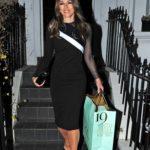 Elizabeth Hurley in a Black Dress Leaves Her Home in London