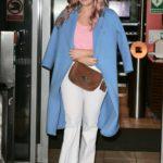 Emma Bunton in a Blue Trench Coat Leaves BBC Radio Studios in London