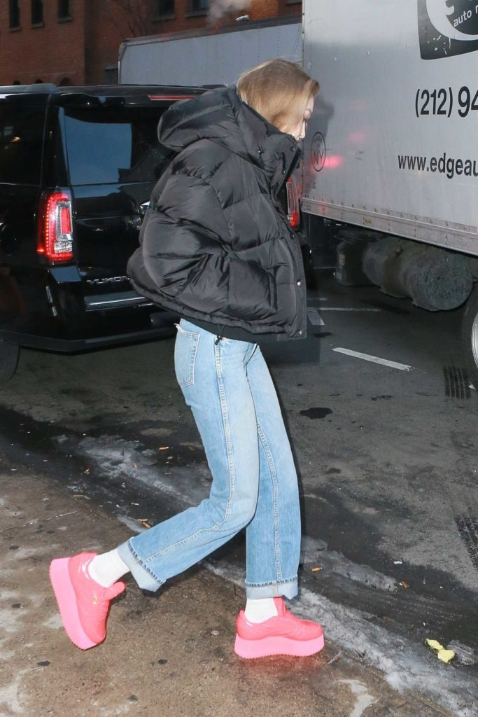 Gigi Hadid in a Black Puffer Jacket