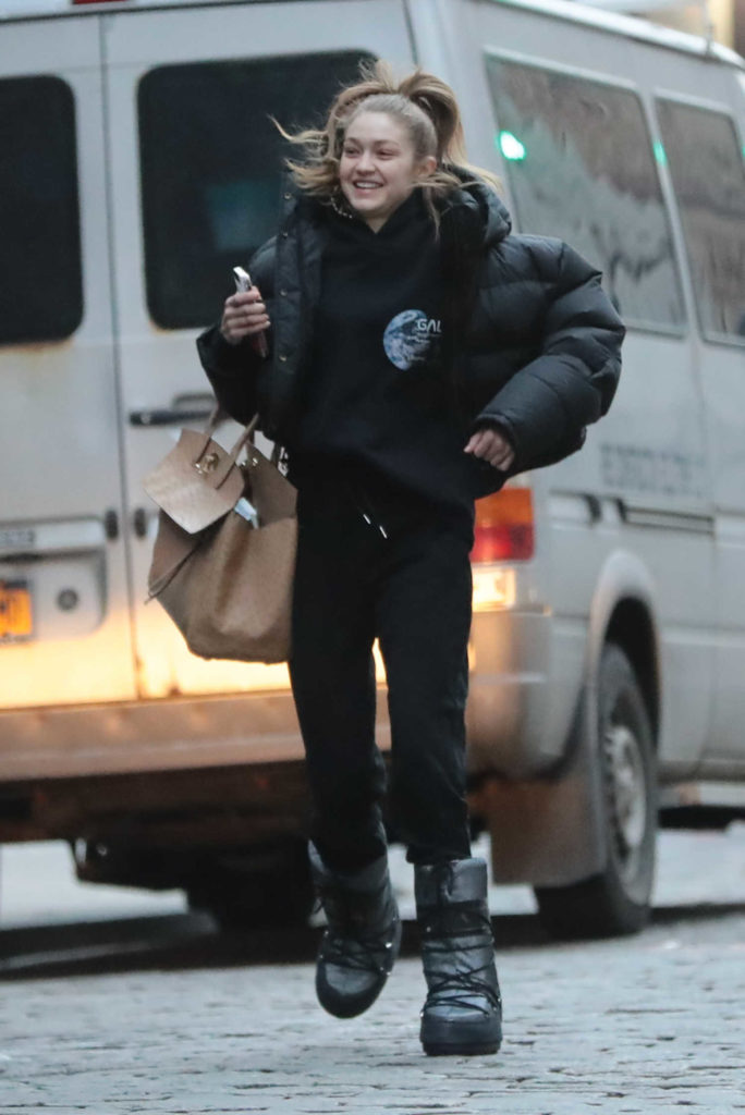 Gigi Hadid in a Black Puffer Jacket