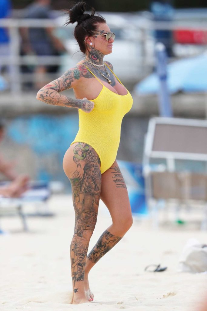 Jemma Lucy in a Yellow Swimsuit
